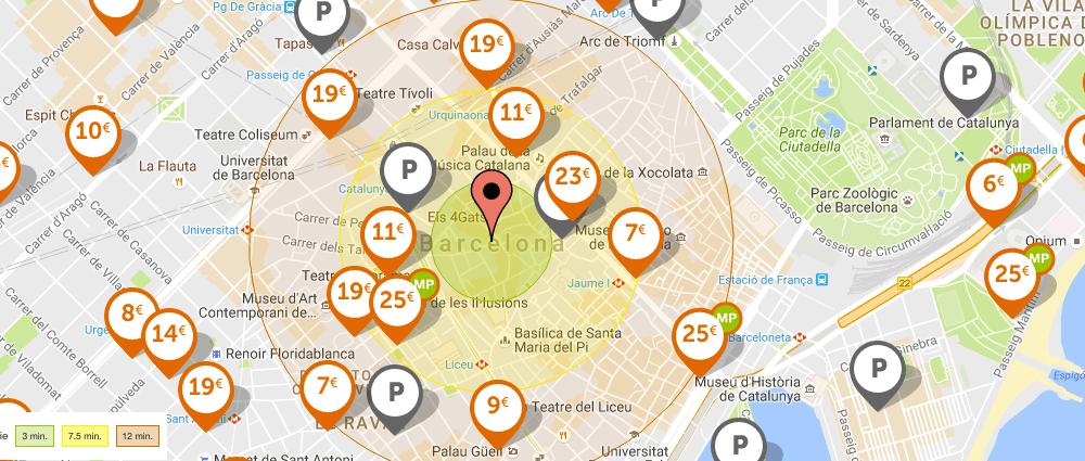 Mapa pàrquings Barcelona