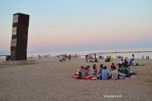 Pícnic a la platja de Barcelona