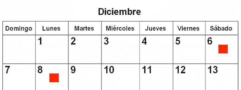 6 i 8 de desembre